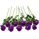 Artificial Rose Silk Flower Blossom Bride Bouquet for Home Wedding Decor 10 Pcs