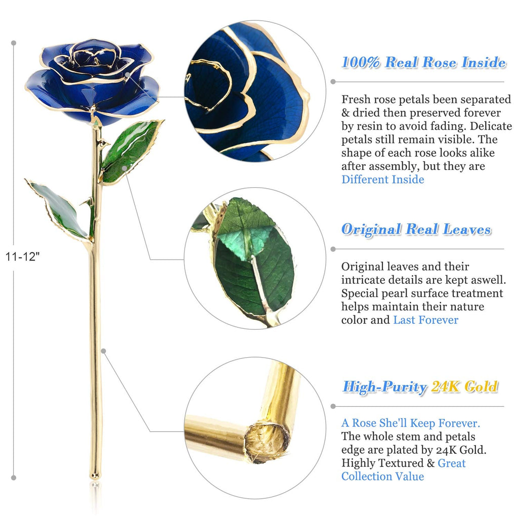 24K Gold Dipped Real Rose Flower, Golden Rose Gift for Best Friend Romantic Love Gift.