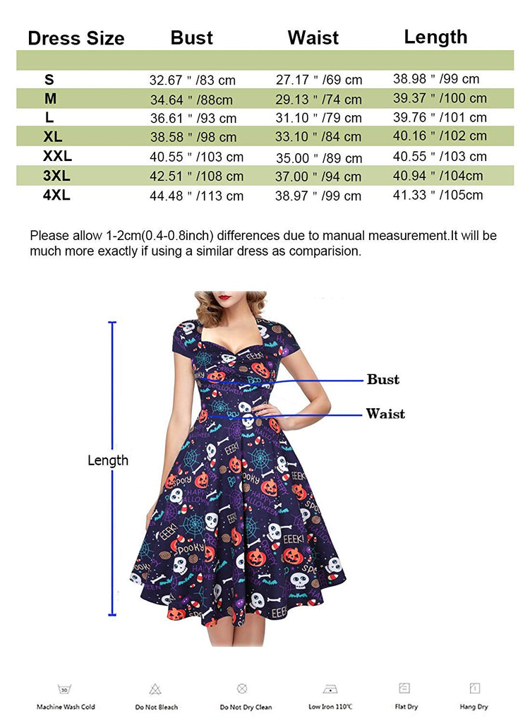 Women's Polka Dot Sugar Skull Vintage Swing Dress Retro Rockabilly Cocktail Party Dress