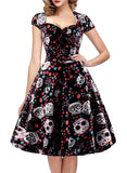 Women's Polka Dot Sugar Skull Vintage Swing Retro Rockabilly Cocktail Party Dress Cap Sleeve