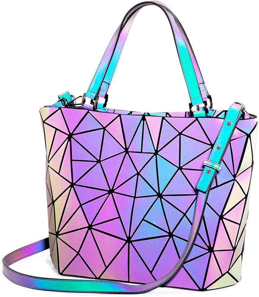 Womens Geometric Luminous Purses and Handbags Holographic Reflective Crossbody Bag Wallet