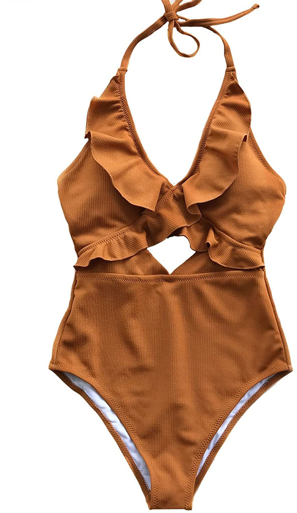 Women's Stay with You Falbala Halter Padding One-Piece Swimsuit