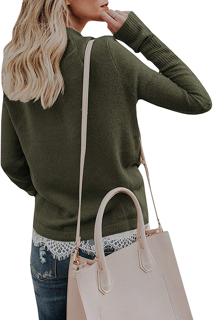 Womens Knitted Deep V-Neck Long Sleeve Wrap Front Loose Sweater Pullover Jumper Tops