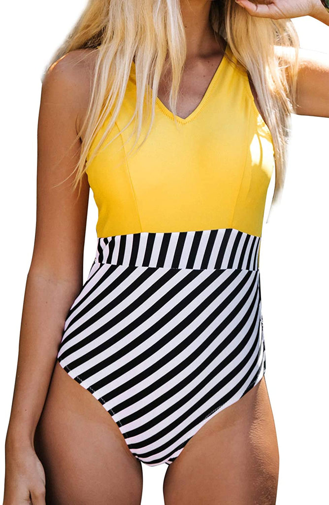 Women's Yellow V Neck and Striped Bottom One Piece Swimsuit