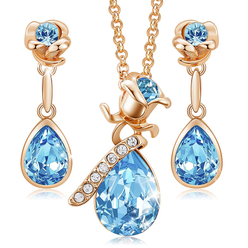 CDE Necklace Earrings Set for Women Jewelry Gifts 18K Rose Gold Plated Jewelry Sets Embellished with Crystals from Swarovski