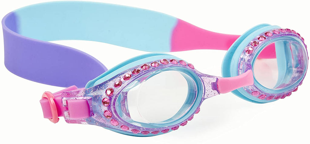 Kids Swimming Goggles - Pink and Purple Rhinestone Swim Goggles for Girls - Ages 3+ - Anti Fog, No Leak, Non Slip