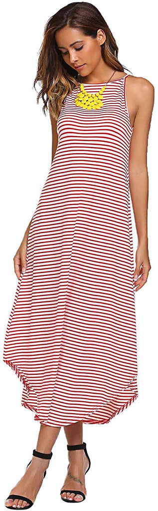 Women's Summer Casual Stripe Sleeveless Loose Beach Maxi Dress