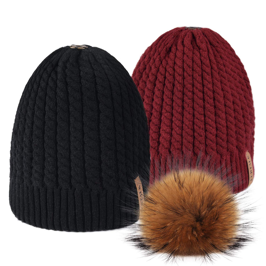 Winter Beanie Hats for Women FURTALK Womens Warm Knit Fur Bobble Pom Pom Hat