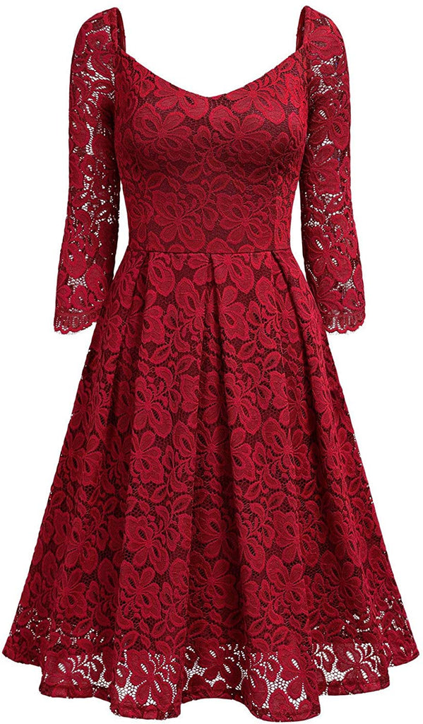 Women's Vintage Floral Lace V Neck Cocktail Formal Swing Dress