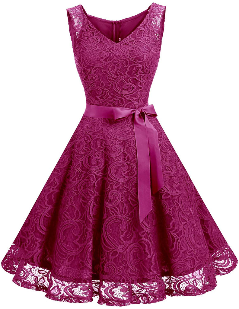 Floral Lace Bridesmaid Party Dress Short Prom Dress V Neck for women