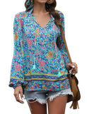 Women Casual Boho Shirts with Vintage Headband Floral Print V Neck Long Sleeve Drawstring Tops Loose Blouses