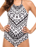 One Piece Swimsuit Halter High Neck Backless Womens Bathing Suit Tummy Control Swimwear Slimming
