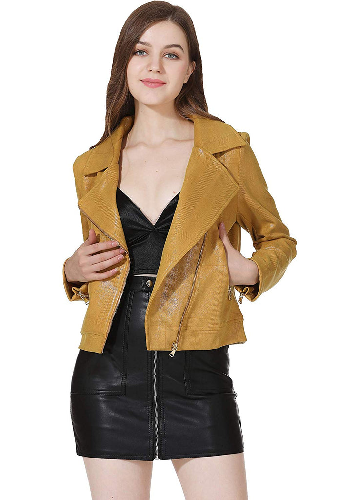 Jackets for Women Long Sleeve Zipper Short Moto Biker Coat