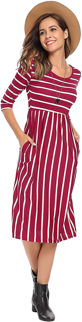 Women's 3 4 Sleeve Stripe Elastic Waist Casual Dress with Pocket