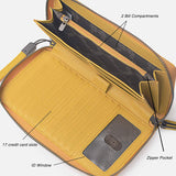 Leather Zip Around Phone Clutch Large Travel Purse Wristlet Women RFID Blocking Wallet