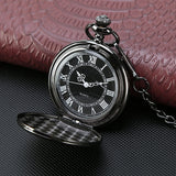 Black Classical Pocket Watch Retro Steampunk Pattern Quartz Numerals Pocket Watch with 14.5 in Chain