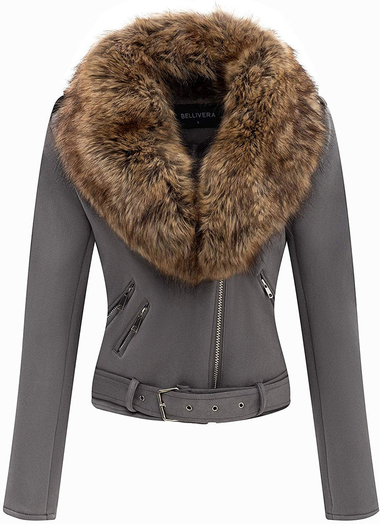 Women's Faux Suede Short Jacket, Moto Jacket with Detachable Faux Fur Collar