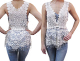 Womens Vintage Lace Gatsby 1920s Cocktail Dress with Crochet Vest