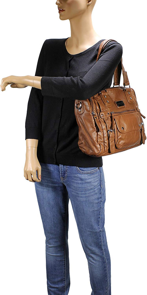 Satchel Handbag for Women, Ultra Soft Washed Vegan Leather Crossbody Bag