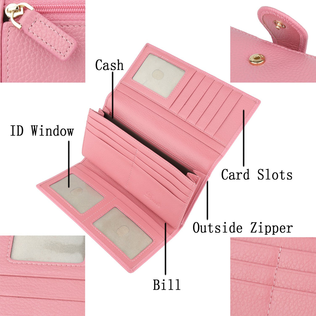 Blocking Large Capacity Luxury Leather Clutch Wallets Credit Card Holder for Women