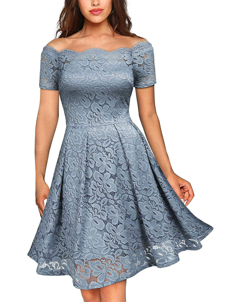 Party Swing Dress Women's Vintage Floral Lace Short Sleeve Boat Neck Cocktail Party Swing Dress