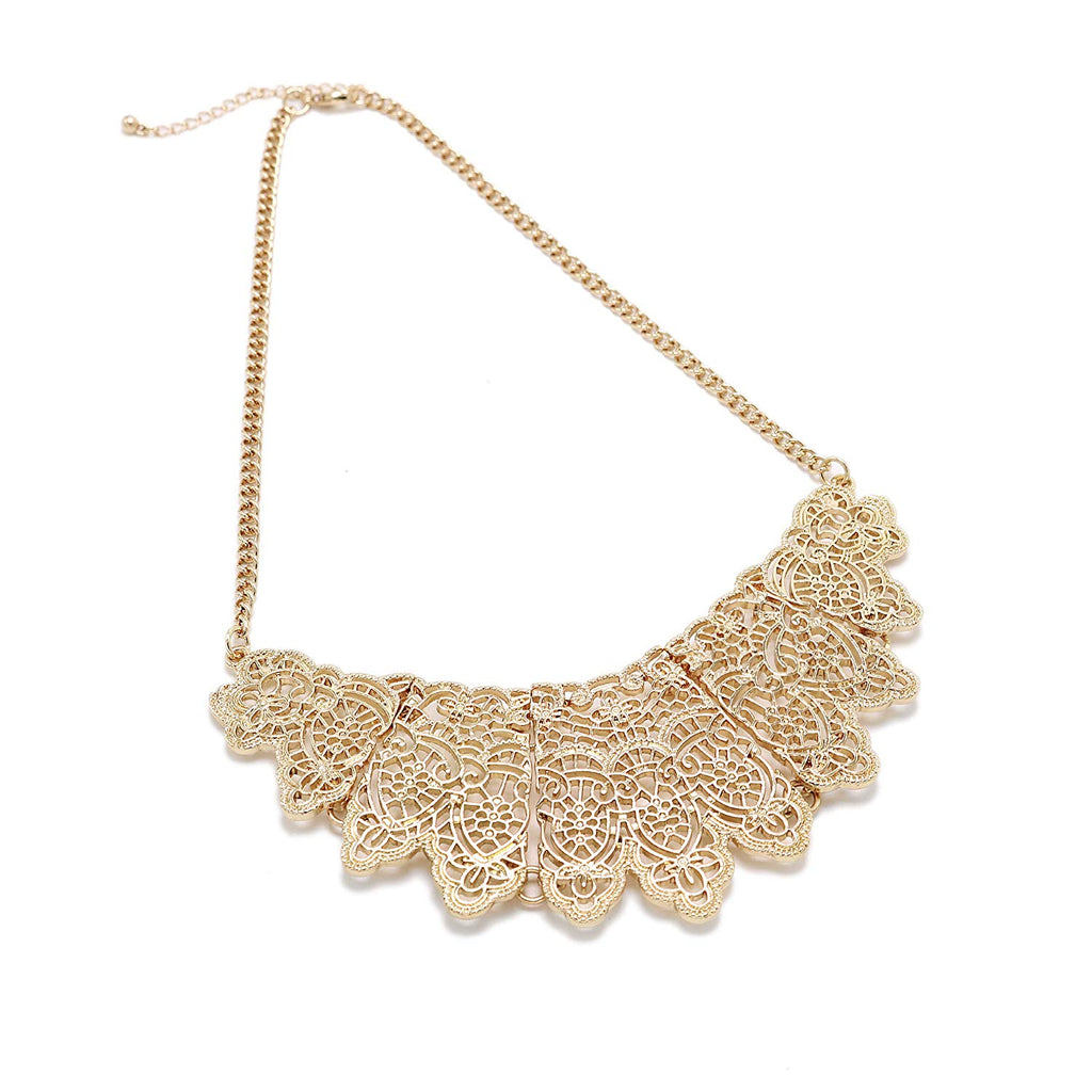 Gold Collar Necklace for Women Girls Floral Rhinestone Bib Statement Necklace