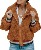 Women Fleece Leopard Coat Long Sleeve Button Down Jackets Winter Lapel Outerwear