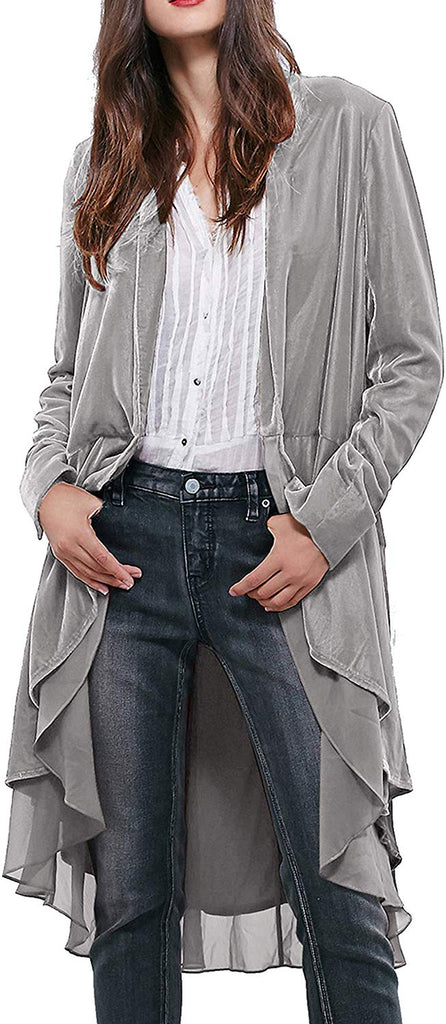 Womens Ruffled Asymmetric Long Velvet Blazers Coat Casual Jackets