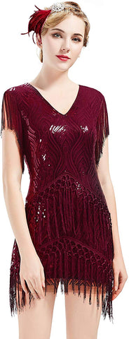 1920s Flapper Dress Long Fringed Gatsby Dress Roaring 20s Sequins Beaded Dress