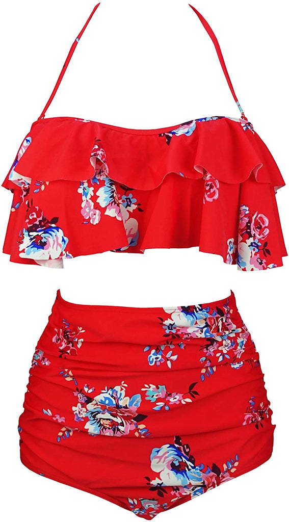 Women's Retro Boho Flounce Falbala High Waist Bikini Set Chic Swimsuit