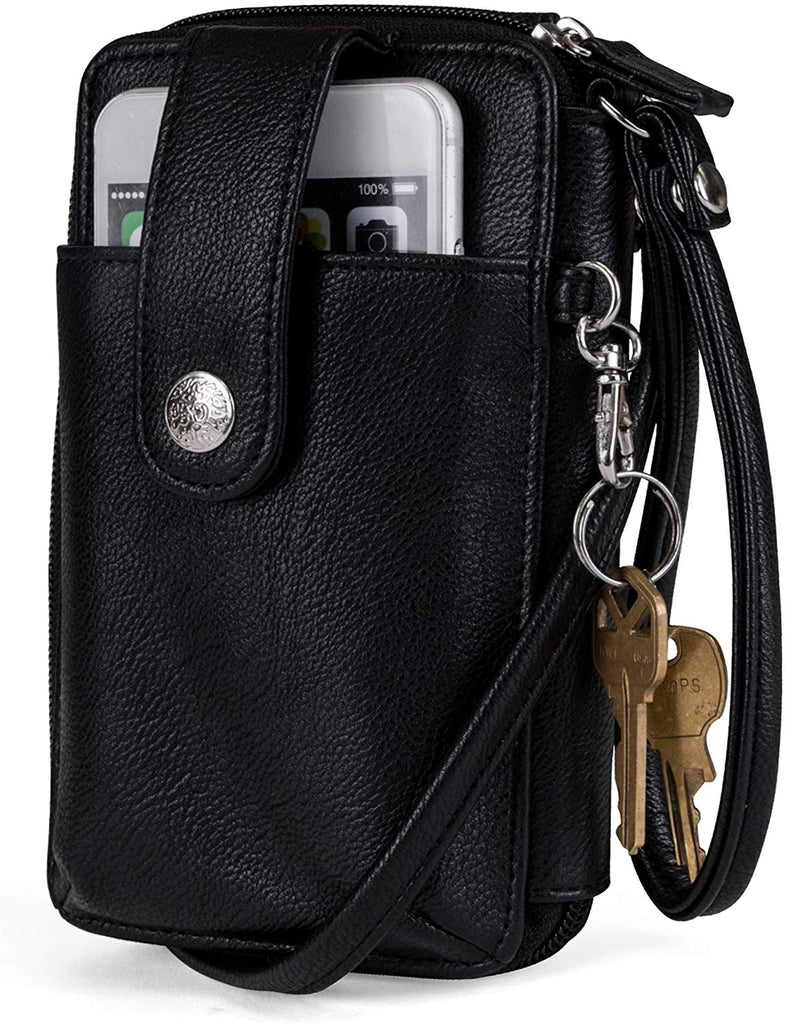 Vegan Leather RFID Womens Crossbody Cell Phone Purse Holder Wallet