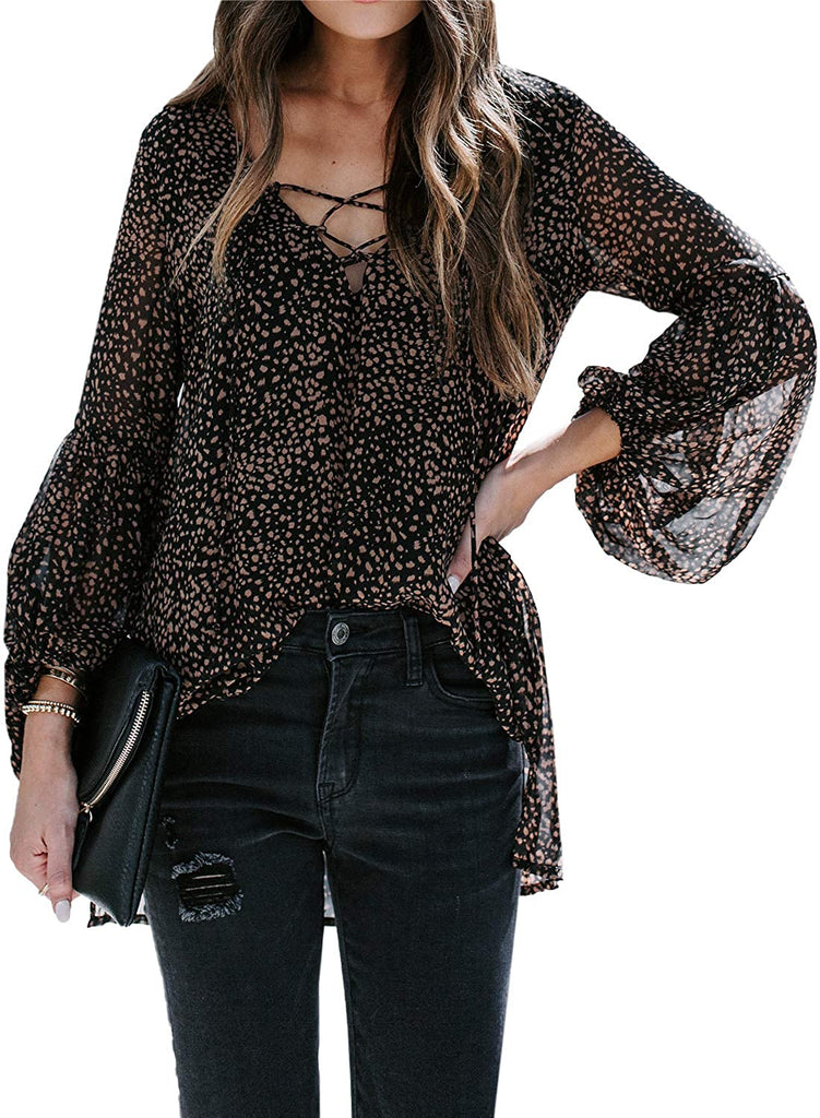 Women Stylish V Neck Chiffon Tops Casual Solid Blouse Loose High Low Shirts