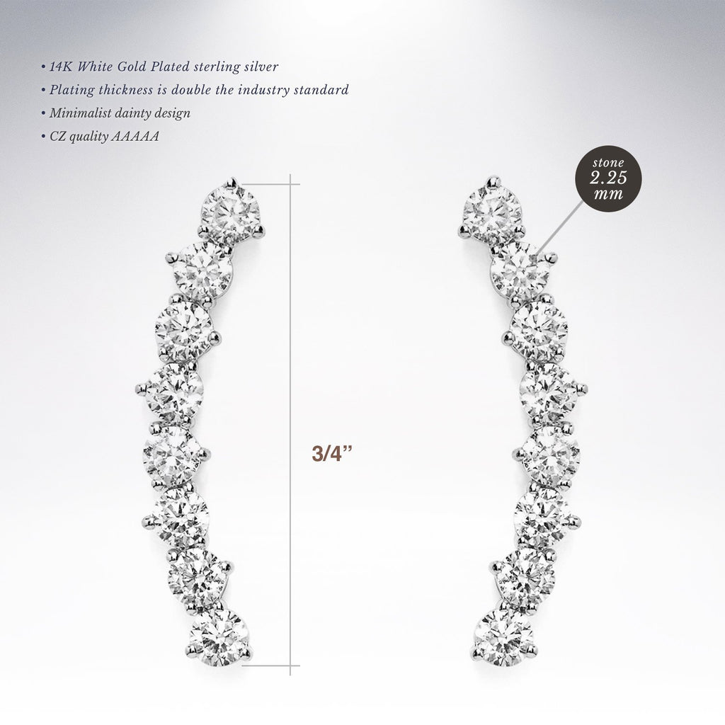 "14K Gold Plated""Hearts & Arrows"" Simulated Diamond Ear Crawler - Cuff Earrings Hypoallergenic Stud Ear Climber Jackets"