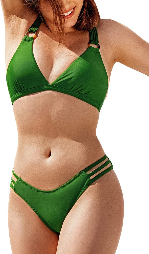 Women's Bikini Swimsuit Green Triangle Braided Strappy Two Piece Bathing Suit