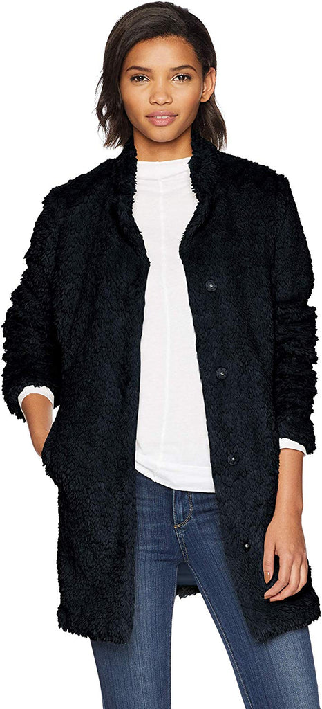 Women's Mid Length Snap Faux Fur Coat with Texture