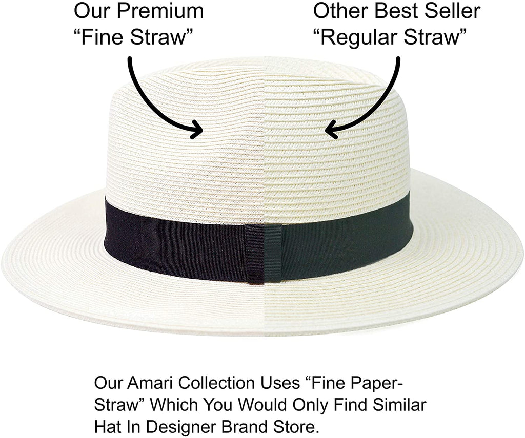 Sun Straw Fedora Beach Hat Fine Braid UPF50+ for Both Women Men