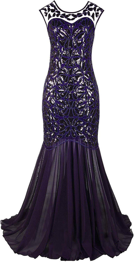 1920s Black Sequin Gatsby Maxi Long Evening Prom Dress for women