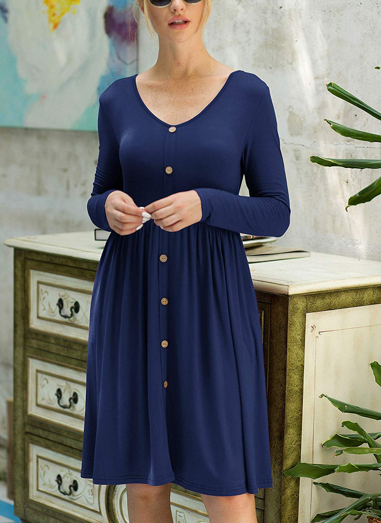 GRECERELLE Women's Long Sleeve V Neck Button Casual Plain Swing Dresses Wasp Down A-Line Dress with Pockets
