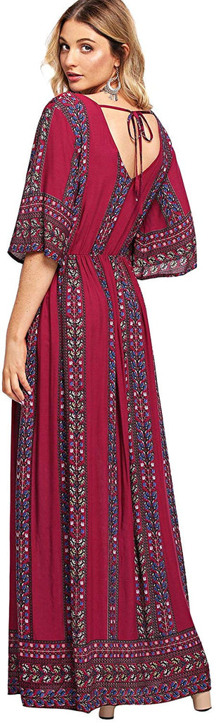 Women's Boho Split Tie-Waist Vintage Print Maxi Dress