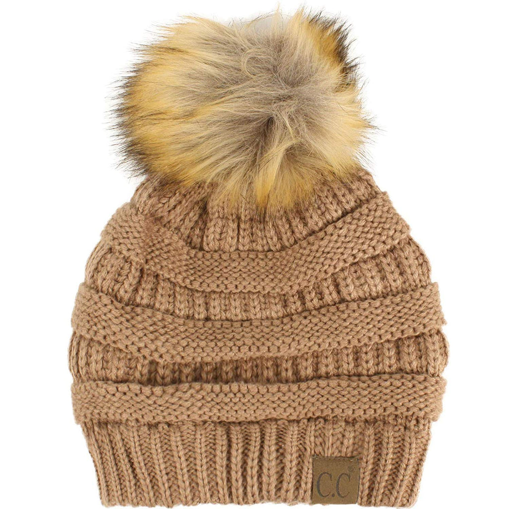 Fur Pom Winter Fall Trendy Chunky Stretchy Cable Knit Beanie Hat