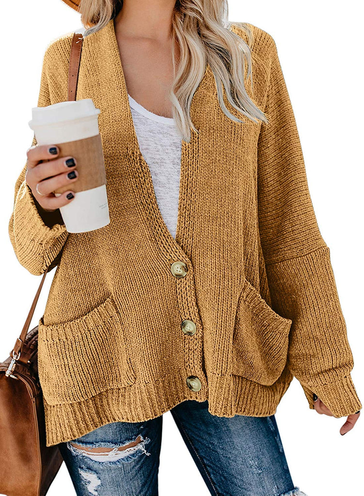 Womens Oversized Knit Texture Casual Loose Open Front Cardigan Sweaters with Pocket