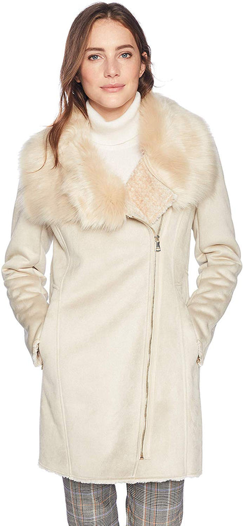 Women's Shrarling with Asytmetrical Zipper Detail and Faux Fur Trimmed Collar