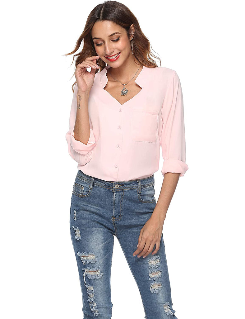 Womens Casual V Neck Button Down Blouse Cuffed Long Sleeves Solid Chiffon Tops