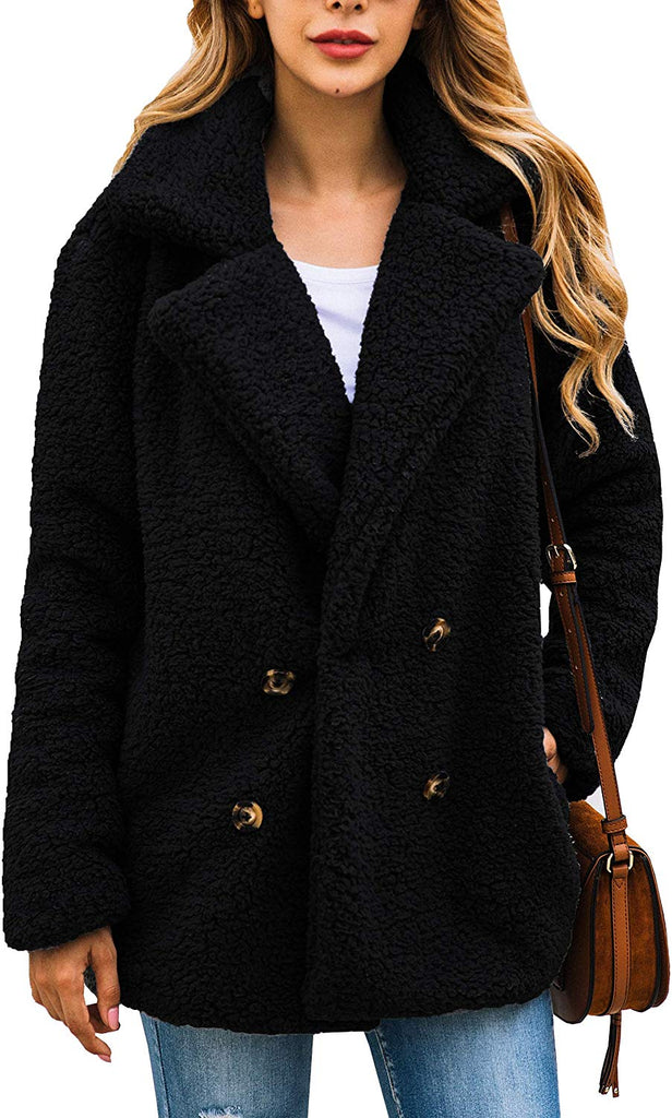 Women's Coat Casual Lapel Fleece Fuzzy Faux Shearling Zipper Warm Winter Oversized Outwear Jackets