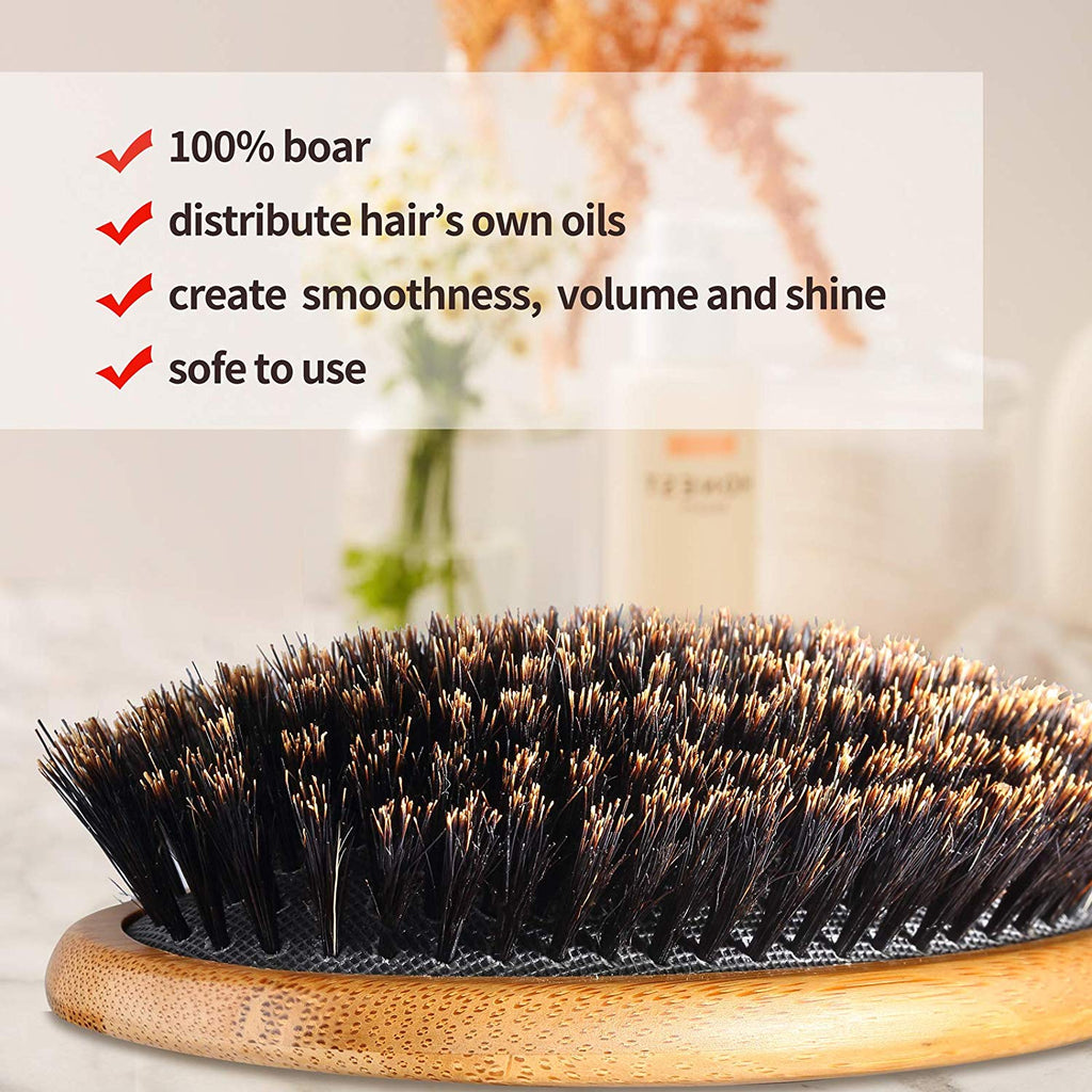 100% Boar Bristle Hair Brush Makes Hair Shiny and Improves Hair Texture Straightening Styling Bamboo Wooden Paddle Hair Brush