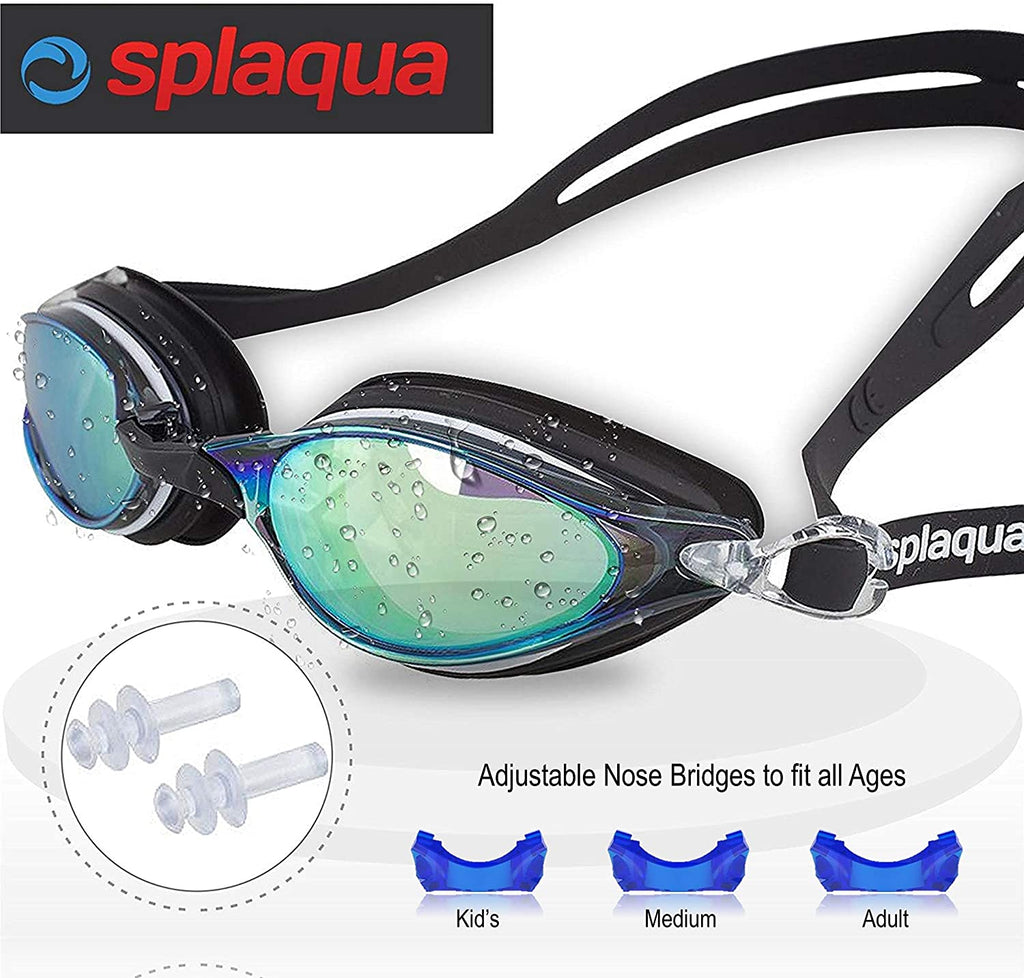 Swim Goggles, Swimming Goggles for Adult Men, Women, Boys, Mirror with UV Protection, Anti Fog and Ear Plugs