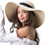Womens Sun Straw Hat Wide Brim UPF 50 Summer Hat Foldable Roll up Floppy Beach Hats for Women
