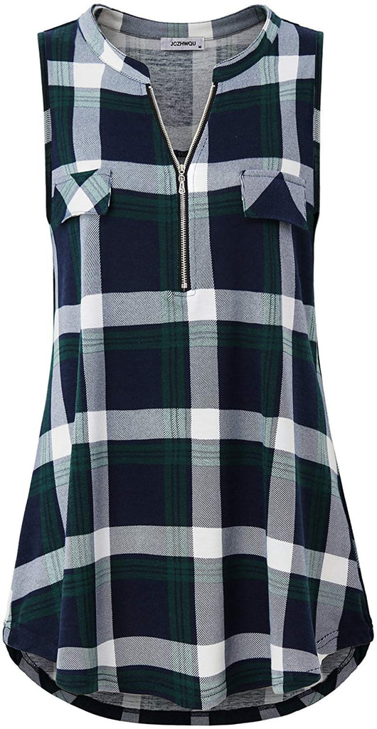 Women's Zip V Neck Short Sleeve/Sleeveless Casual Plaid Shirt