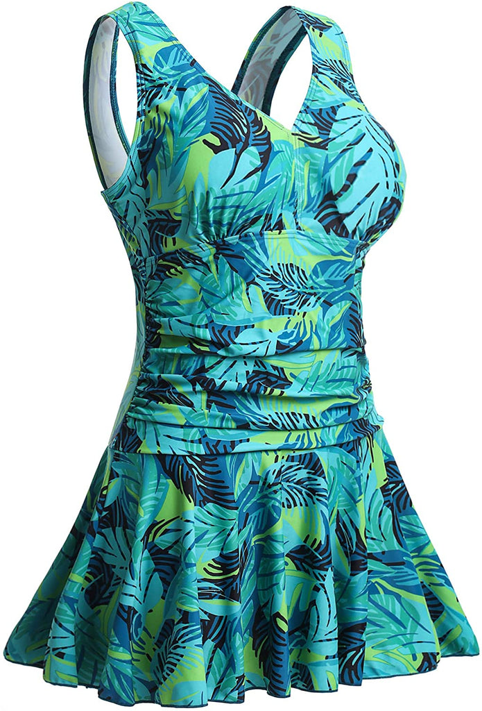 Women's Plus-Size Flower Printing Shaping Body One Piece Swim Dresses Swimsuit