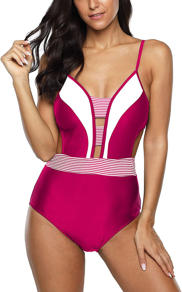 Womens One Piece Swimsuit Tummy Control Bathing Suit V Neck Monokini